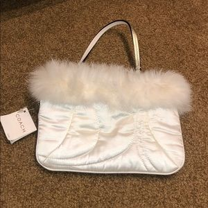 Coach Wristlet with Fur